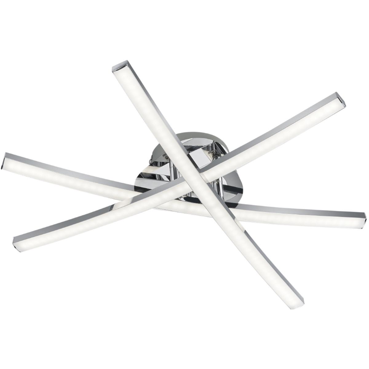 LED Plafondlamp - Plafondverlichting - Trion Cipolo - 15W - Warm Wit 3000K - Rechthoek - Glans Chroo