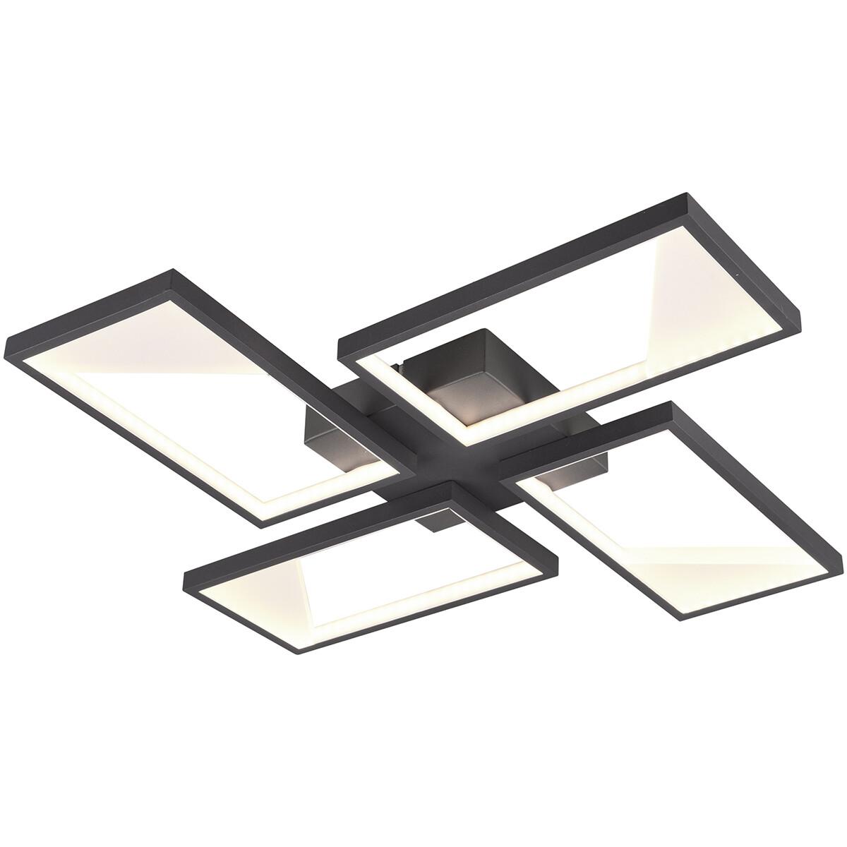 LED Plafondlamp - Plafondverlichting - Trion Civa - 28W - Warm Wit 3000K - Dimbaar - Vierkant - Mat