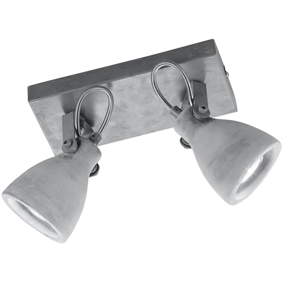 LED Plafondspot - Trion Conry - GU10 Fitting - 2-lichts - Rechthoek - Mat Grijs Beton Look - Alumini