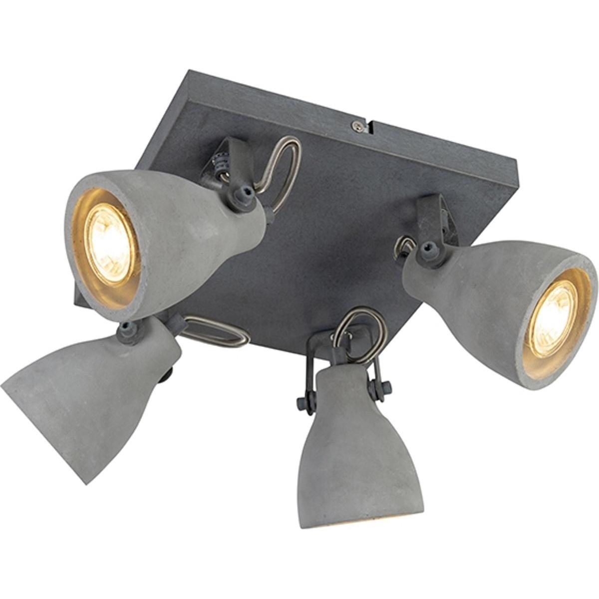 LED Plafondspot - Trion Conry - GU10 Fitting - 4-lichts - Vierkant - Mat Grijs Beton Look - Aluminiu
