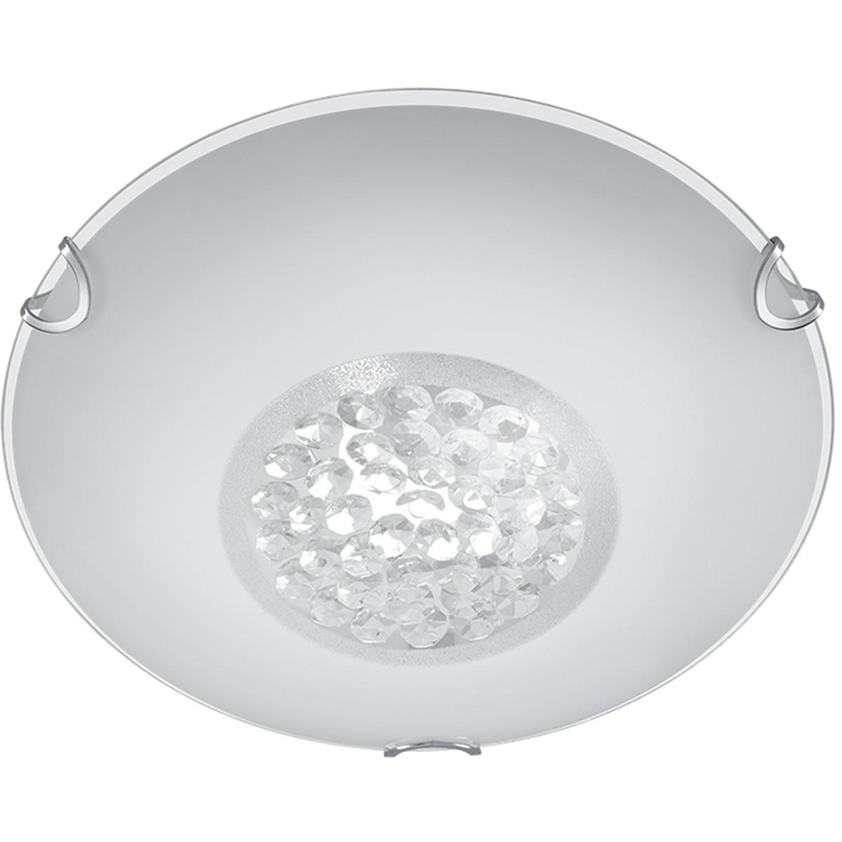 LED Plafondlamp - Plafondverlichting - Trion Cornio - E27 Fitting - 1-lichts - Rond - Mat Chroom - A