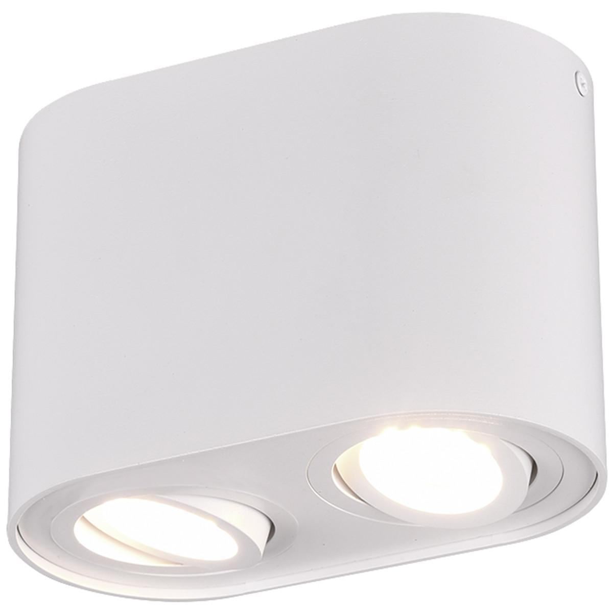 LED Plafondlamp - Plafondverlichting - Trion Cosmin - GU10 Fitting - 2-lichts - Rechthoek - Mat Wit