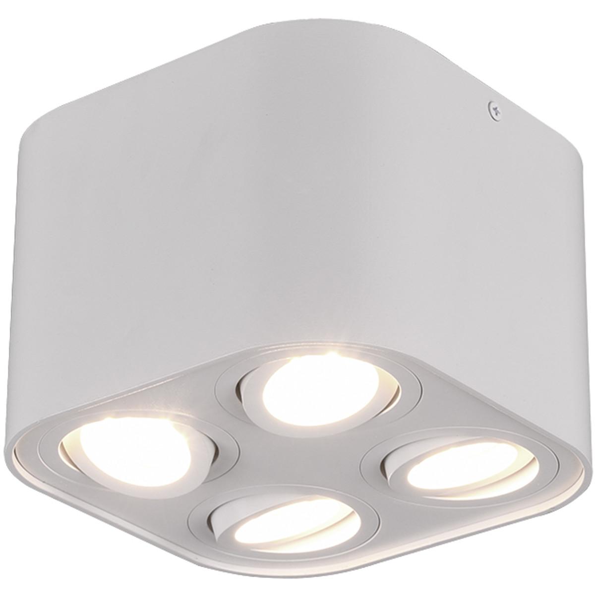 LED Plafondlamp - Plafondverlichting - Trion Cosmin - GU10 Fitting - 4-lichts - Vierkant - Mat Wit -