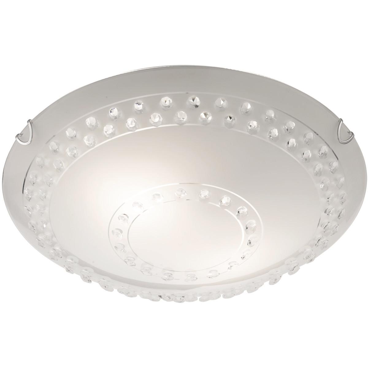 LED Plafondlamp - Plafondverlichting - Trion Crasto - E27 Fitting - 2-lichts - Rond - Mat Wit - Alum