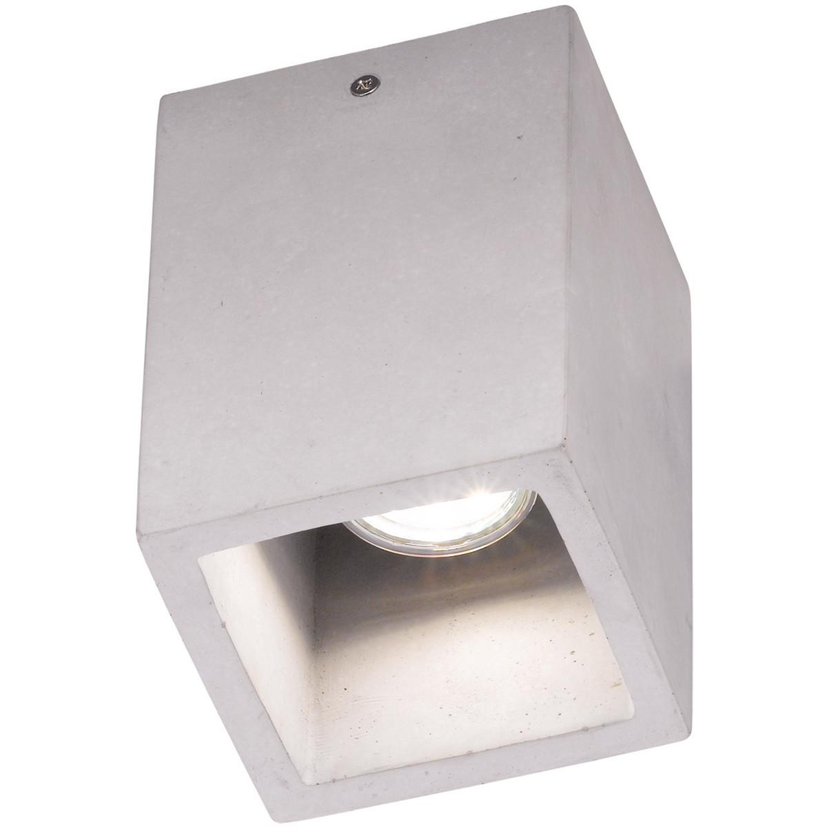 LED Plafondlamp - Plafondverlichting - Trion Cubin - GU10 Fitting - Vierkant - Beton Look - Beton