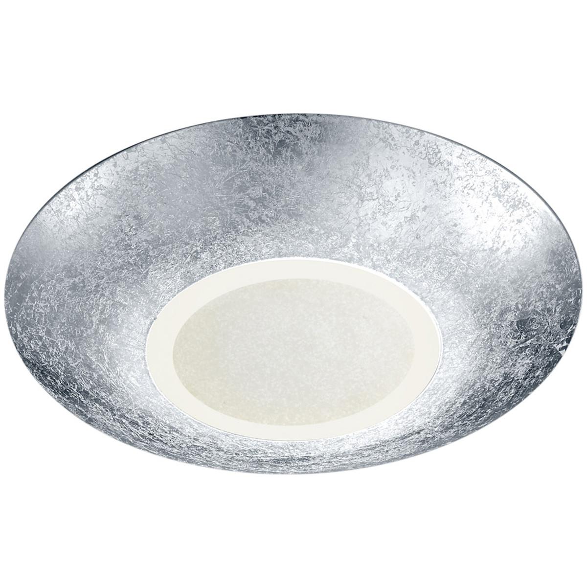 LED Plafondlamp - Plafondverlichting - Trion Cuno - 15W - Warm Wit 3000K - Rond - Mat Zilver - Alumi