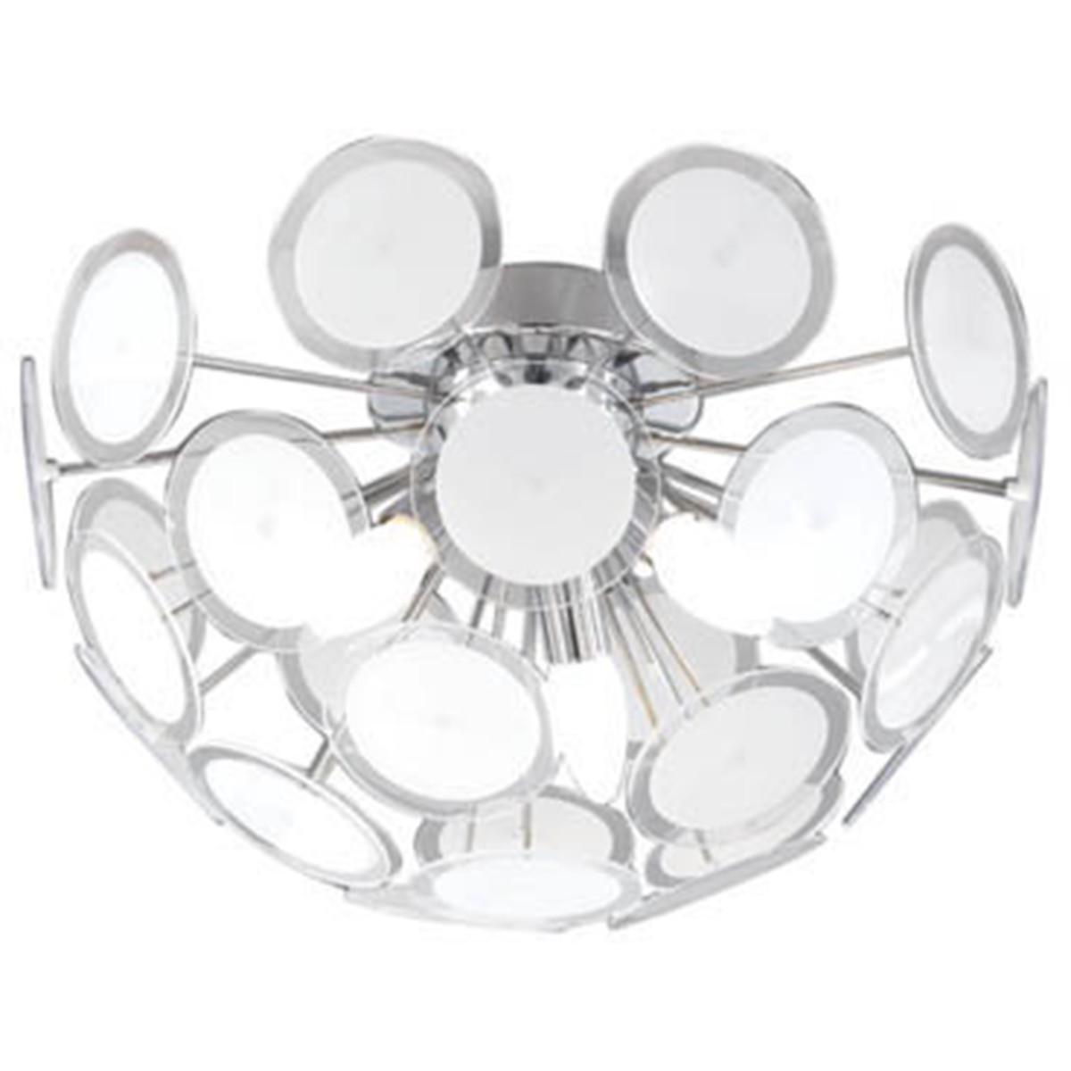 LED Plafondlamp - Plafondverlichting - Trion Dolci - E14 Fitting - Rond - Mat Chroom - Aluminium