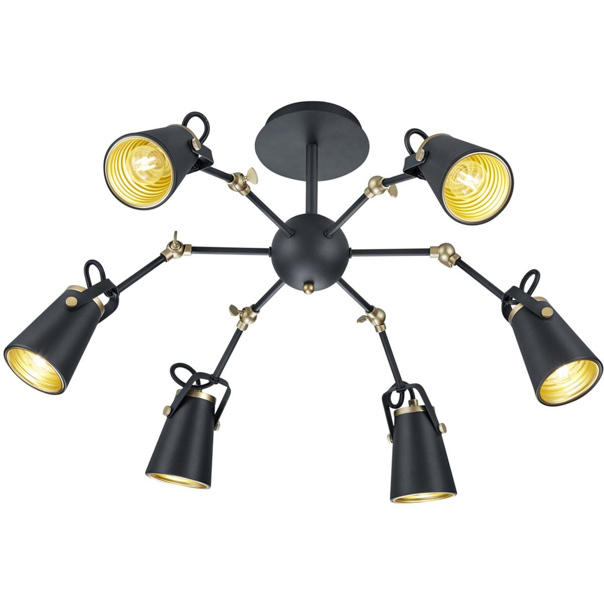 LED Plafondlamp - Plafondverlichting - Trion Edwy - E14 Fitting - 6-lichts - Rond - Mat Zwart - Alum