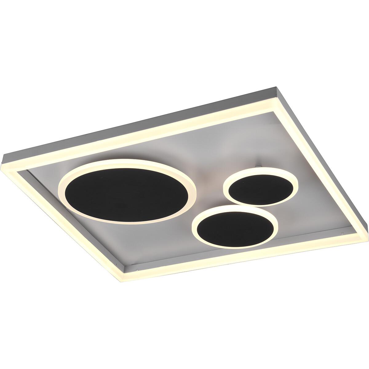 LED Plafondlamp - Plafondverlichting - Trion Horry - 45W - Aanpasbare Kleur - Vierkant - Mat Zwart -