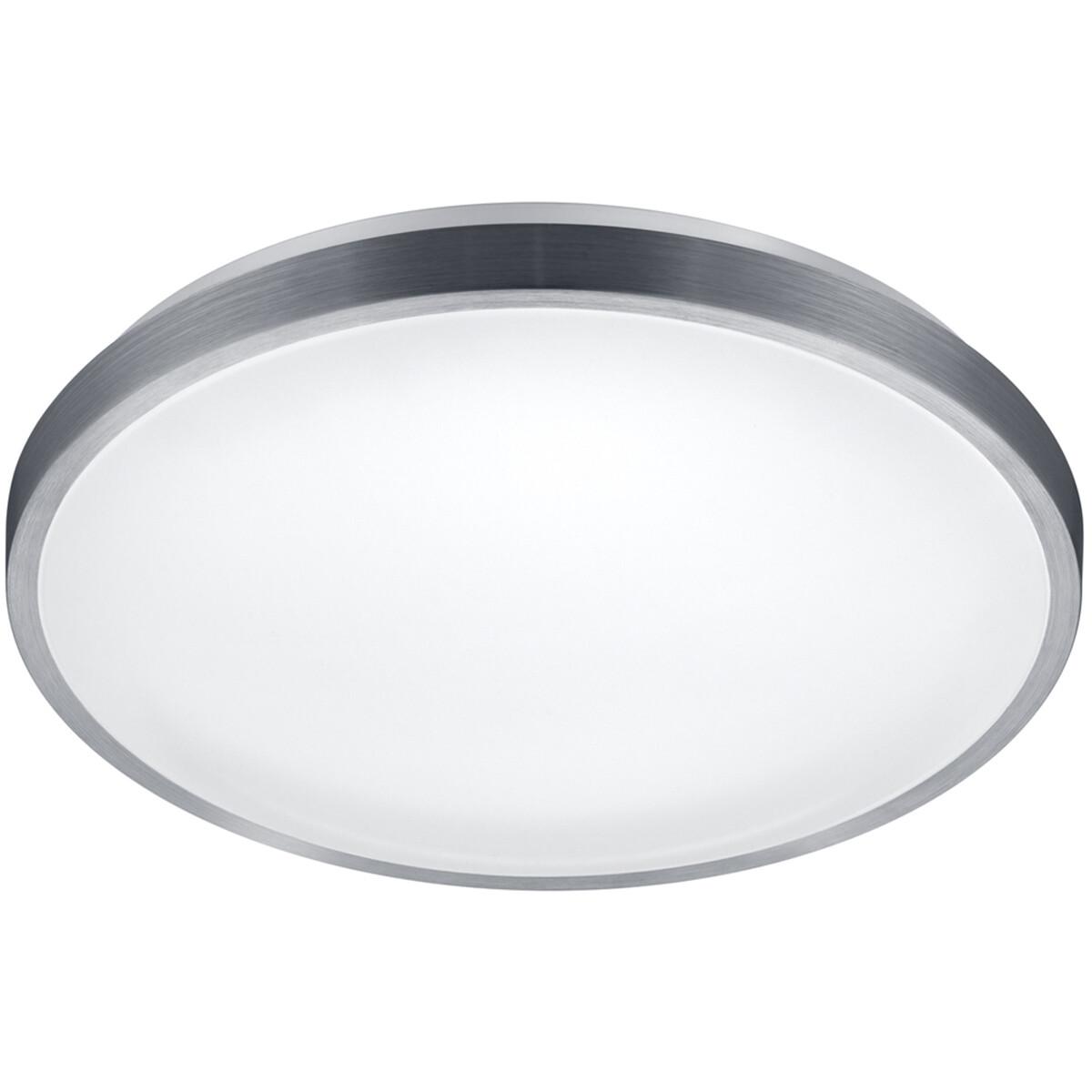 LED Plafondlamp - Plafondverlichting - Trion Izonu - 20W - Warm Wit 3000K - Rond - Mat Grijs - Alumi