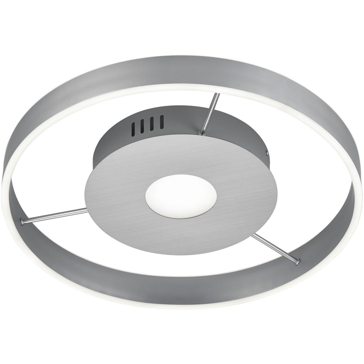 LED Plafondlamp - Plafondverlichting - Trion Lonag - 45W - Aanpasbare Kleur - Rond - Mat Nikkel - Al