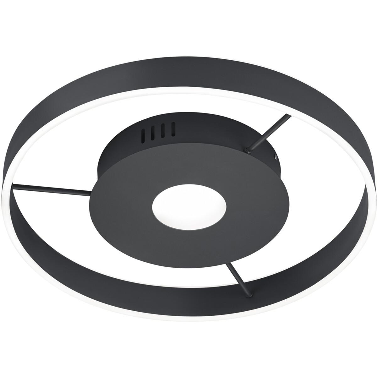 LED Plafondlamp - Plafondverlichting - Trion Lonag - 45W - Aanpasbare Kleur - Rond - Mat Zwart - Alu