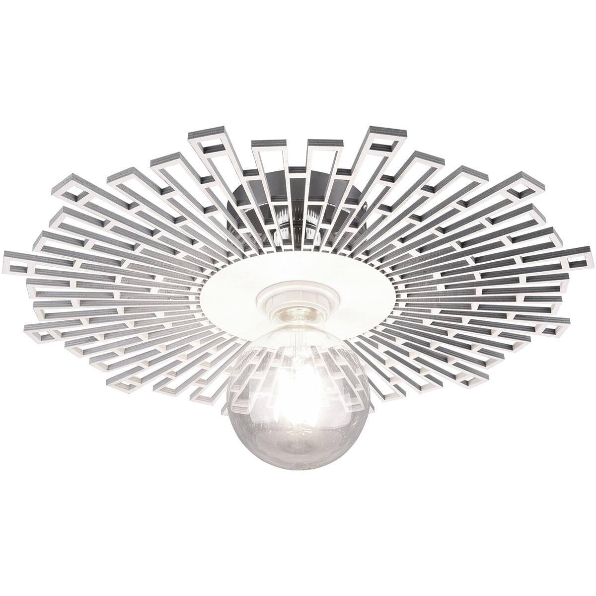LED Plafondlamp - Plafondverlichting - Trion Mila - E27 Fitting - Rond - Mat Wit - Aluminium
