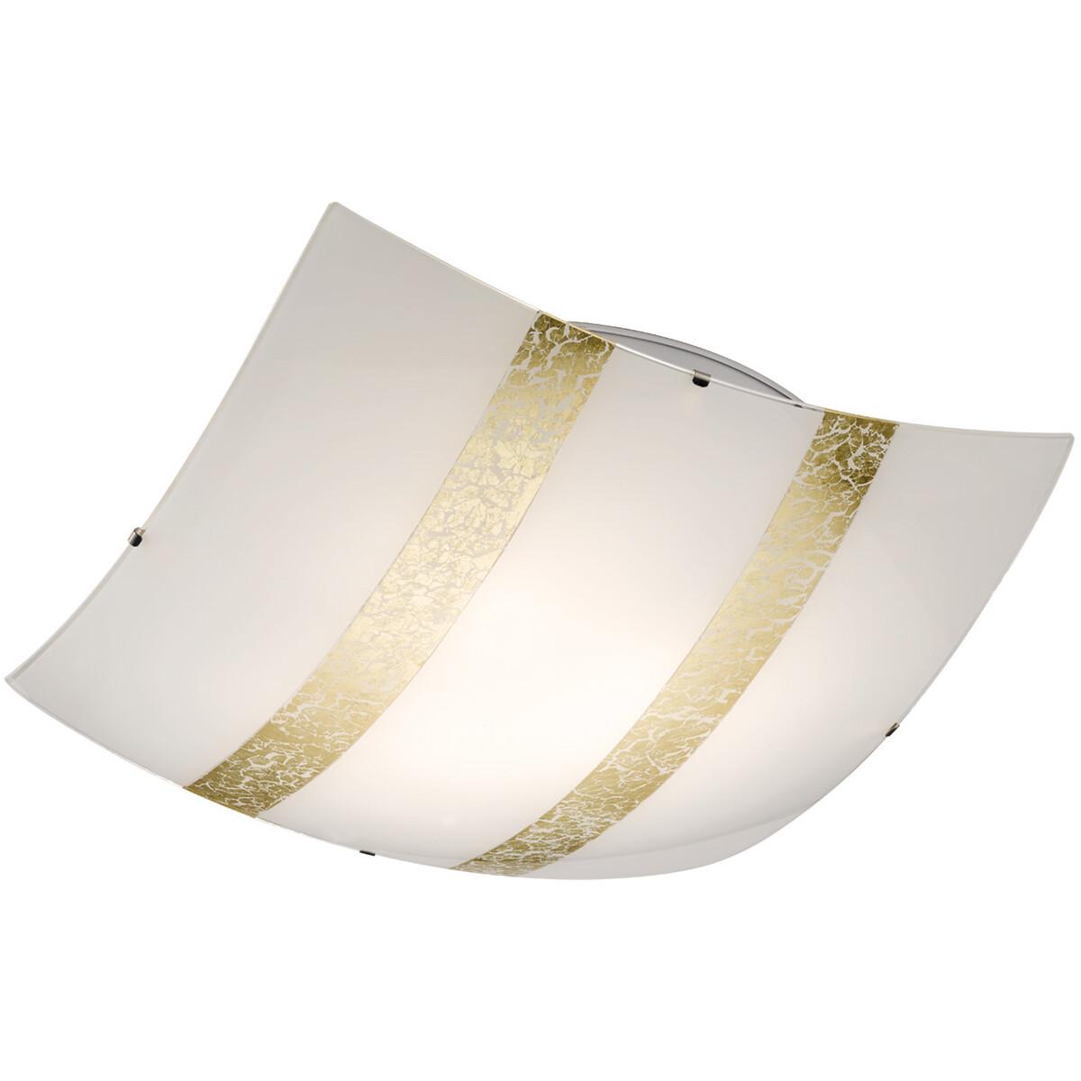 LED Plafondlamp - Plafondverlichting - Trion Niki - E27 Fitting - 3-lichts - Vierkant - Mat Goud - G