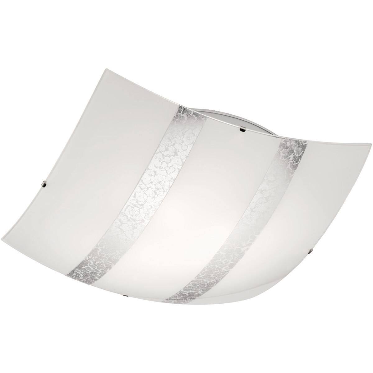 LED Plafondlamp - Plafondverlichting - Trion Niki - E27 Fitting - 3-lichts - Vierkant - Mat Zilver -