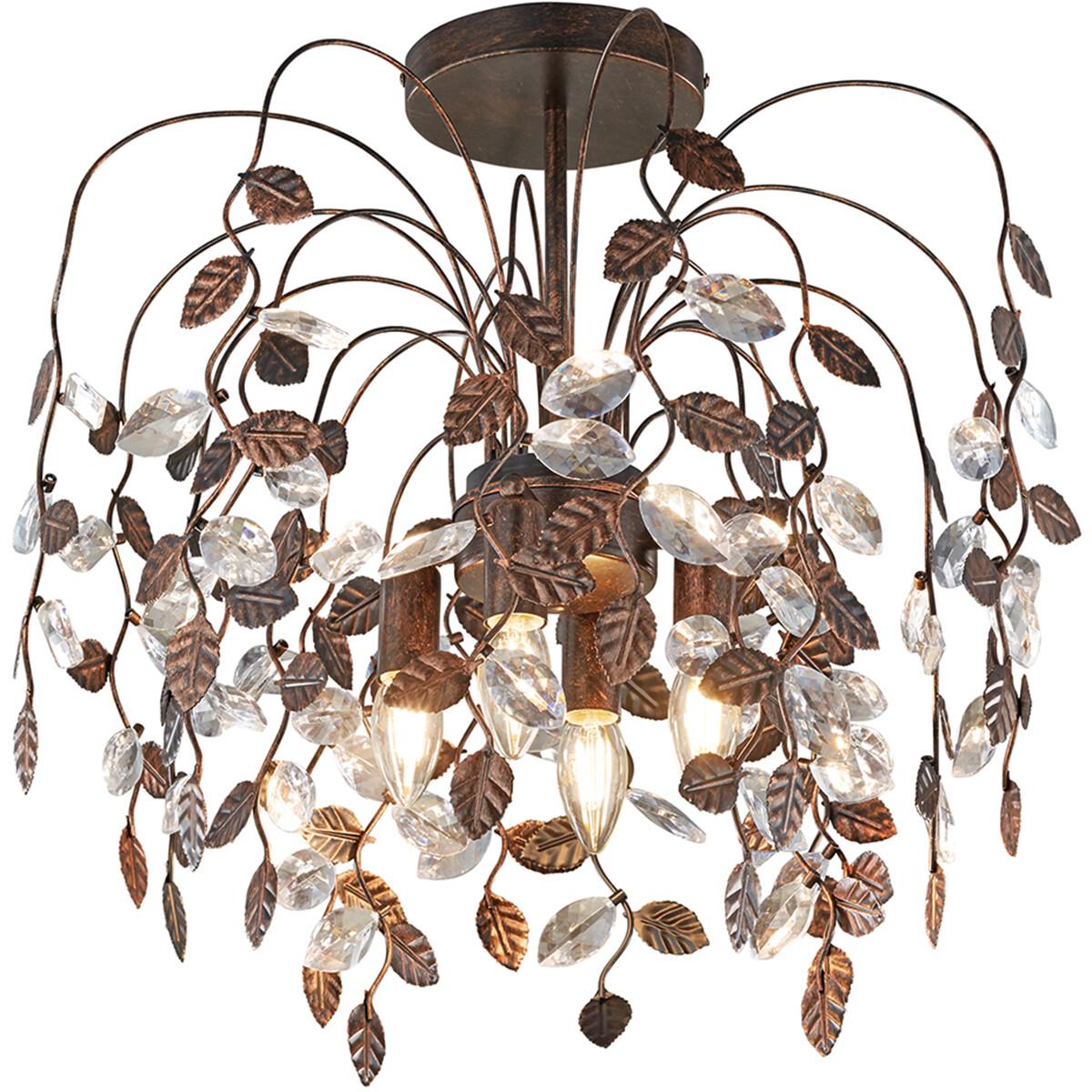 LED Plafondlamp - Plafondverlichting - Trion Nipola - E14 Fitting - Rond - Roestkleur - Aluminium