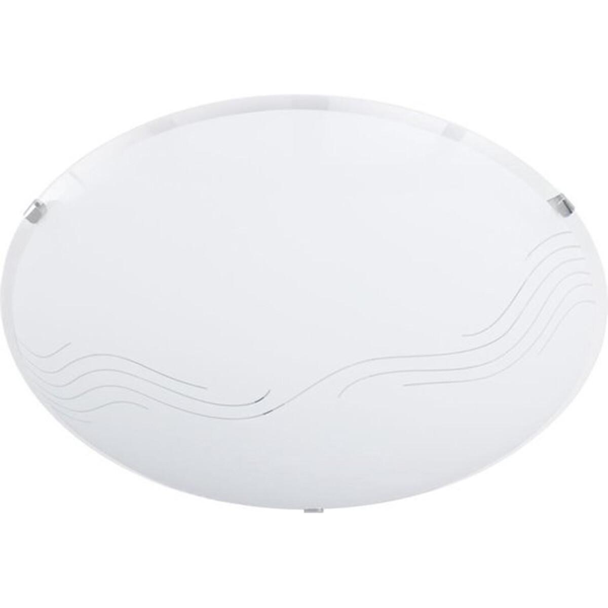 LED Plafondlamp - Plafondverlichting - Trion Nirona - E27 Fitting - 2-lichts - Rond - Mat Nikkel - A