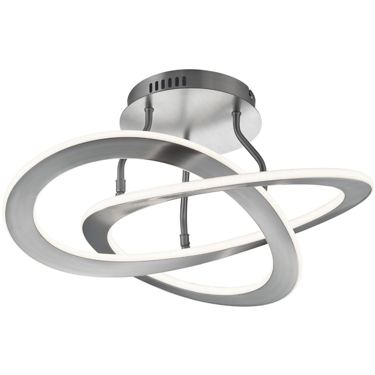 LED Plafondlamp - Plafondverlichting - Trion Oaky - 40W - Warm Wit 3000K - Rond - Mat Nikkel - Alumi