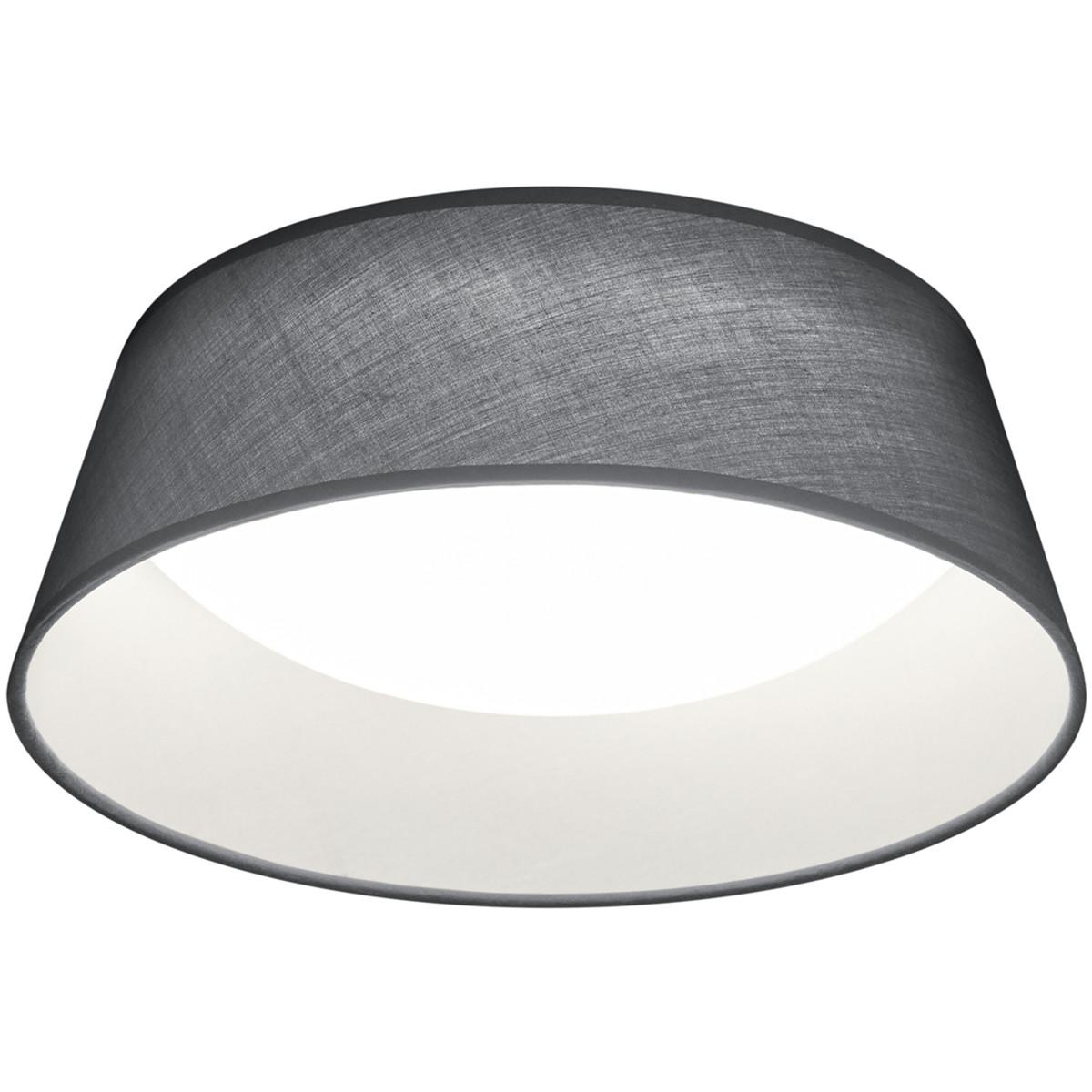 LED Plafondlamp - Plafondverlichting - Trion Pinton - 14W - Warm Wit 3000K - Rond - Mat Grijs - Text