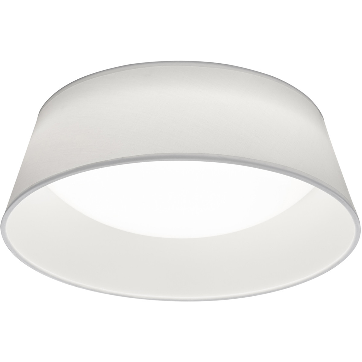 LED Plafondlamp - Plafondverlichting - Trion Pinton - 14W - Warm Wit 3000K - Rond - Mat Wit - Textie