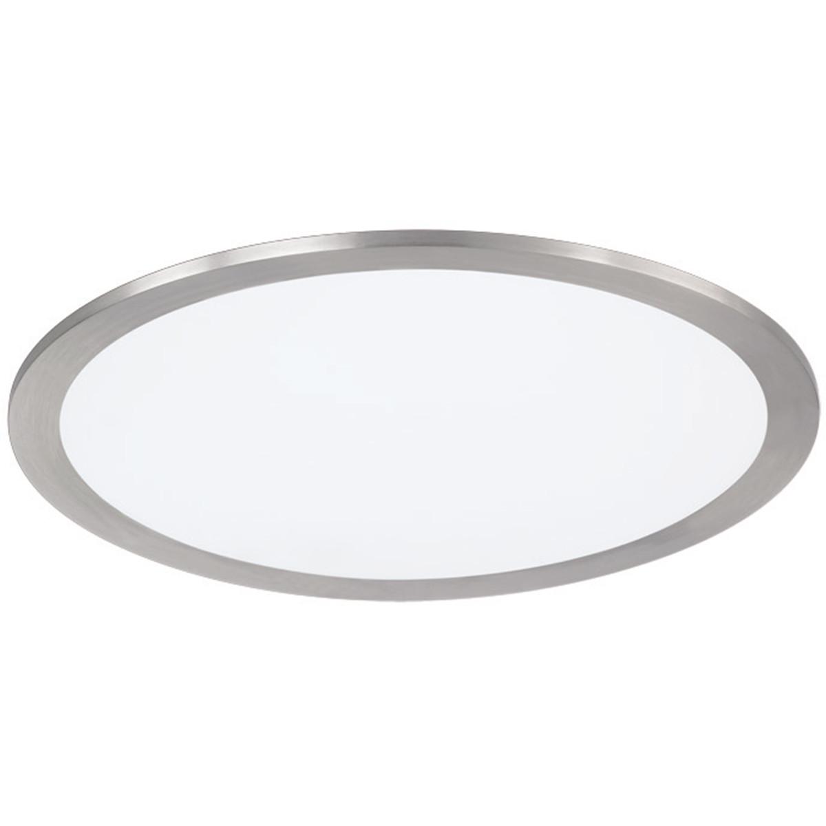 LED Plafondlamp - Plafondverlichting - Trion Povino - 15W - Warm Wit 3000K - Dimbaar - Rond - Mat Ni