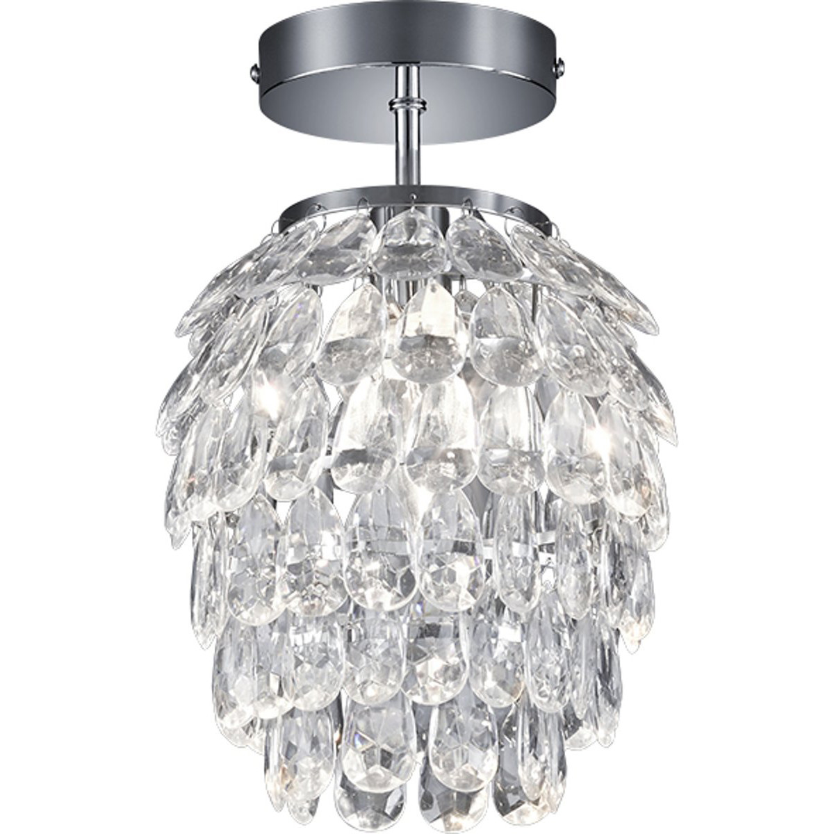 LED Plafondlamp - Plafondverlichting - Trion Pret - E14 Fitting - Rond - Glans Chroom - Aluminium