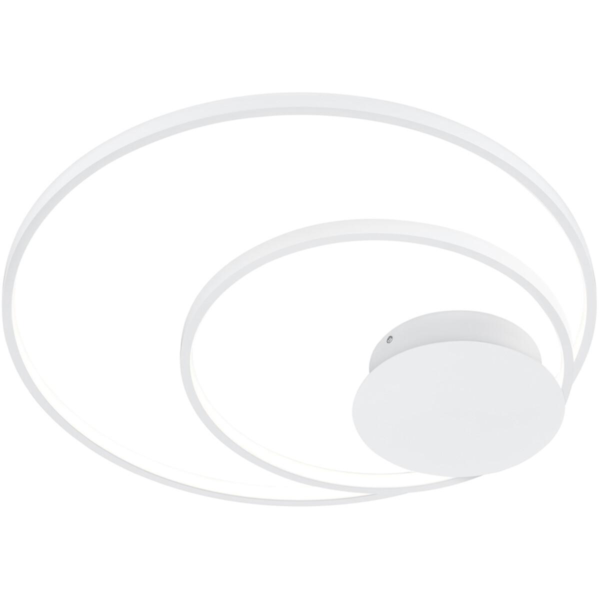 LED Plafondlamp - Plafondverlichting - Trion Sidon - 30W - Warm Wit 3000K - Dimbaar - Rond - Mat Wit