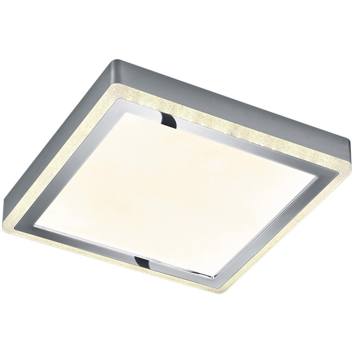 LED Plafondlamp - Plafondverlichting - Trion Slodan - 12W - Aanpasbare Kleur - Vierkant - Mat Wit -
