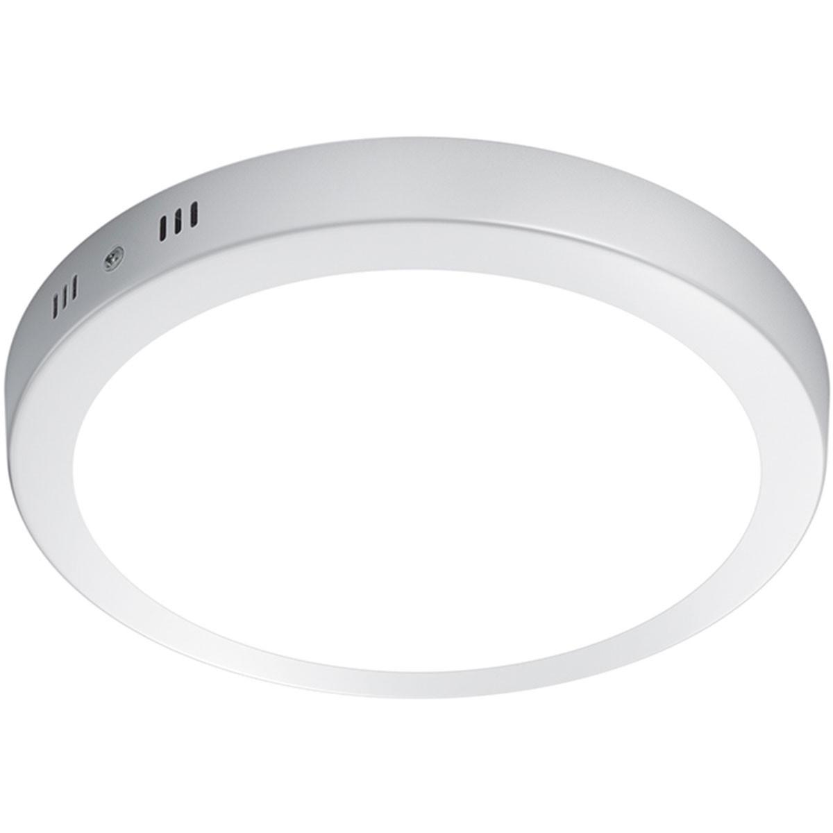 LED Plafondlamp - Plafondverlichting - Trion Sonta - 17W - Warm Wit 3000K - Rond - Mat Wit - Alumini