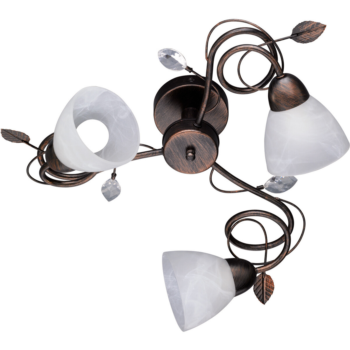 LED Plafondlamp - Plafondverlichting - Trion Trada - E14 Fitting - 3-lichts - Rond - Antiek Roestkle