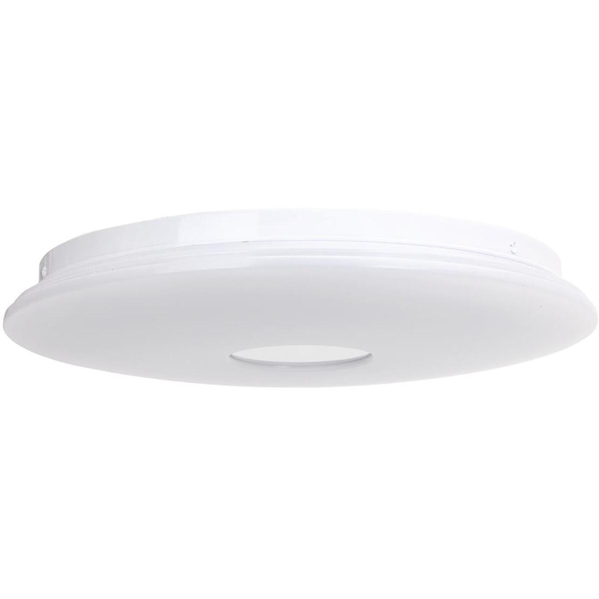 LED Plafondlamp - Smart LED - Trion Ikano - 18W - Aanpasbare Kleur - RGB - Rond - Mat Wit - Aluminiu