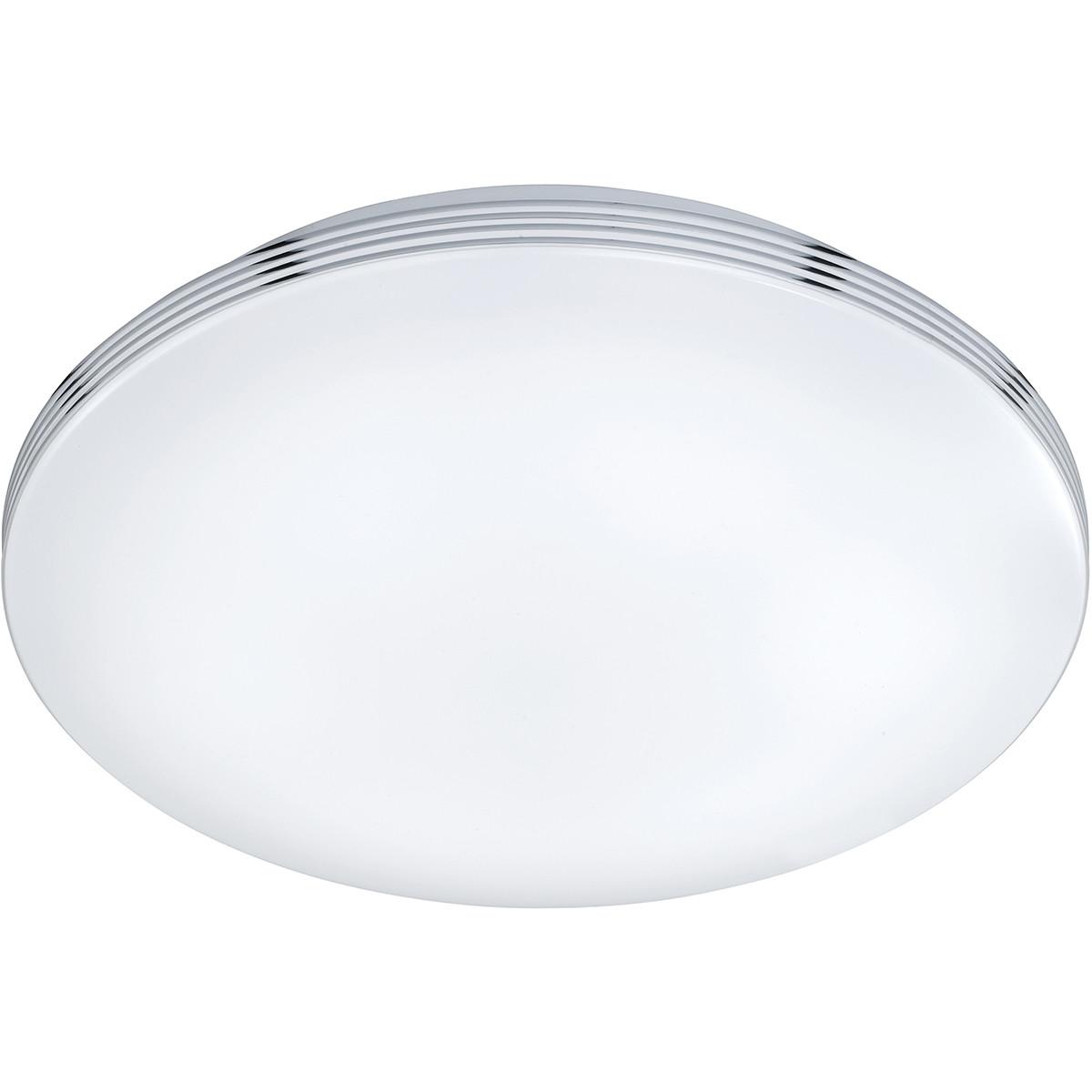 LED Plafondlamp - Trion Apity - Opbouw Rond 18W - Spatwaterdicht IP44 - Warm Wit 3000K - Glans Chroo