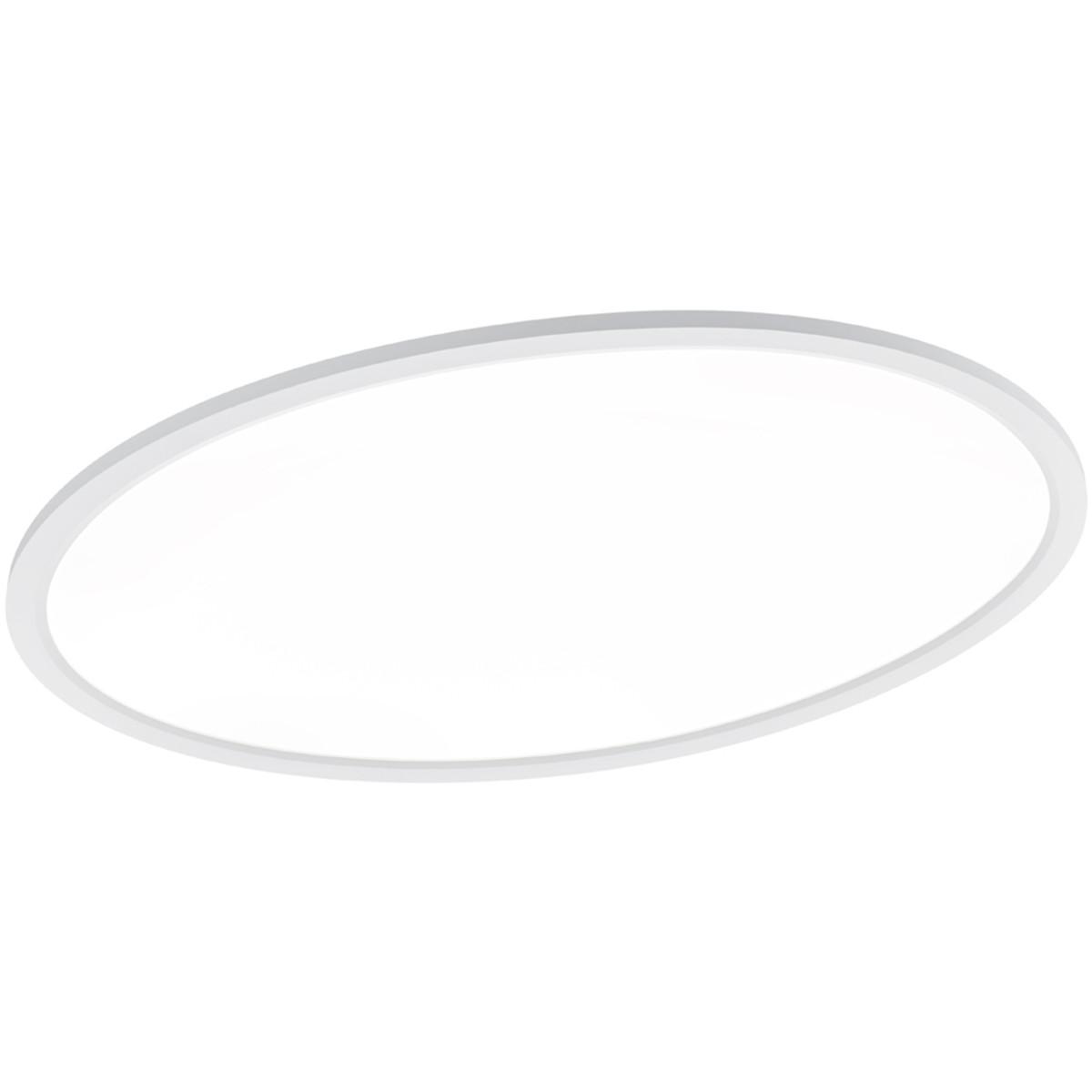 LED Plafondlamp - Trion Astinor - Opbouw Ovaal - 24W - Warm Wit 3000K - Mat Wit - Aluminium