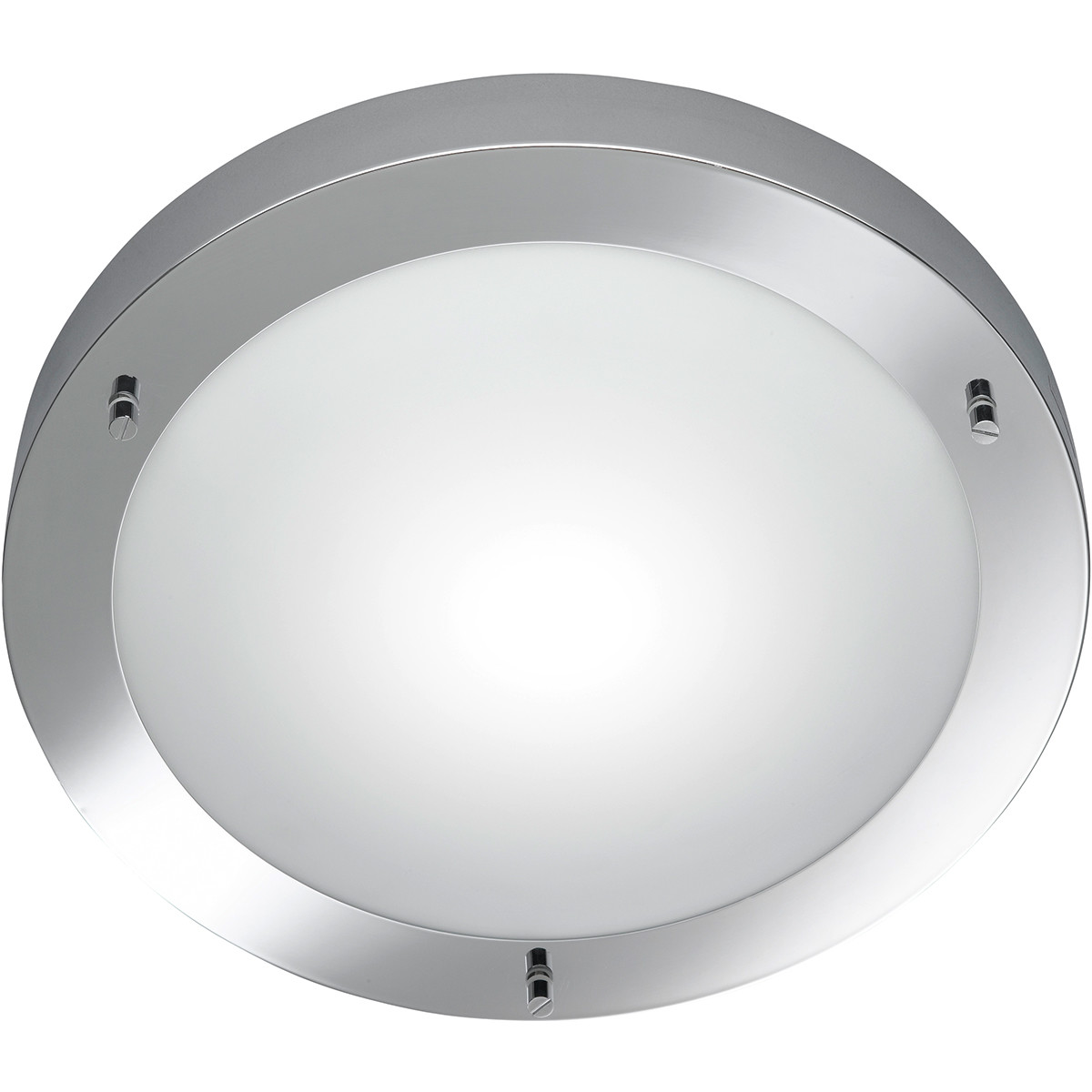 LED Plafondlamp - Trion Condi - Opbouw Rond - Spatwaterdicht IP44 - E27 Fitting - Glans Chroom Alumi