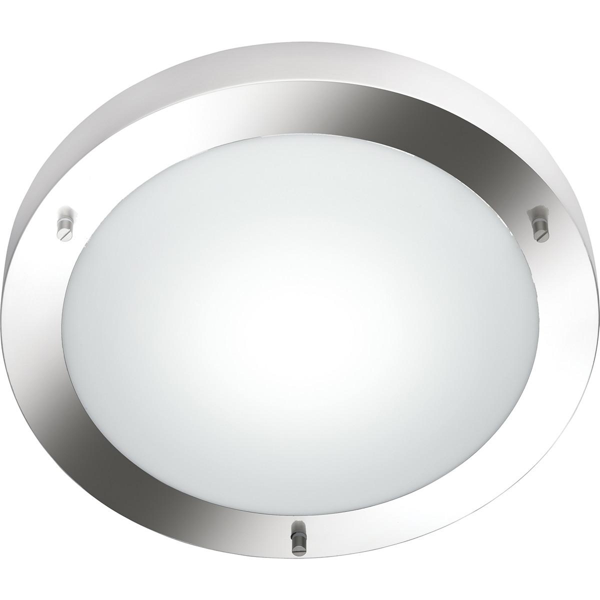 LED Plafondlamp - Trion Condi - Opbouw Rond - Spatwaterdicht IP44 - E27 Fitting - Mat Nikkel Alumini