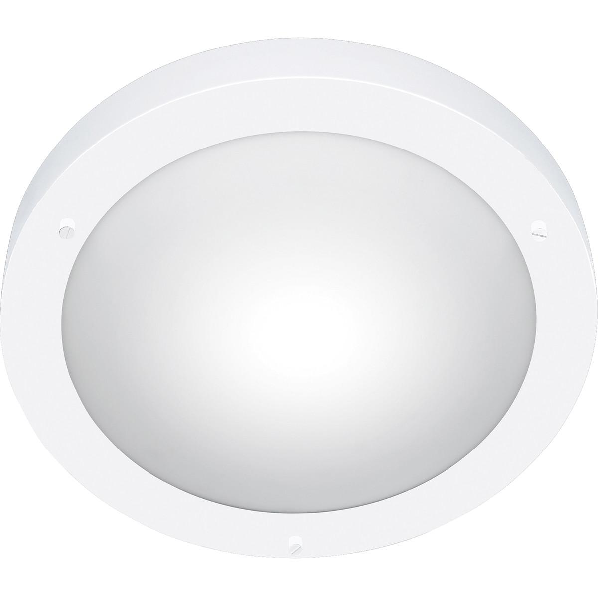 LED Plafondlamp - Trion Condi - Opbouw Rond - Spatwaterdicht IP44 - E27 Fitting - Mat Wit Aluminium