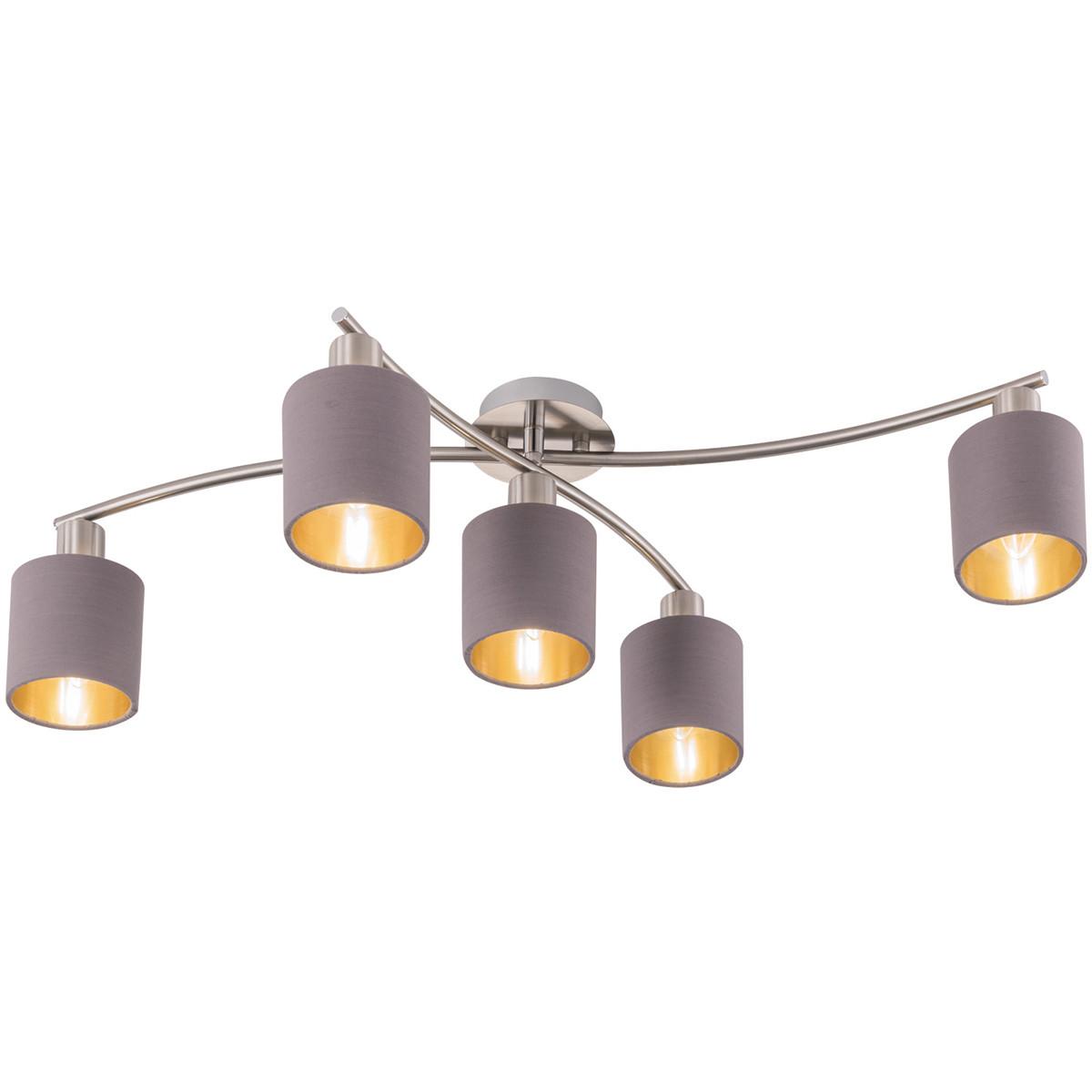 LED Plafondlamp - Trion Gorino - E14 Fitting - 5-lichts - Rond - Mat Bruin - Aluminium