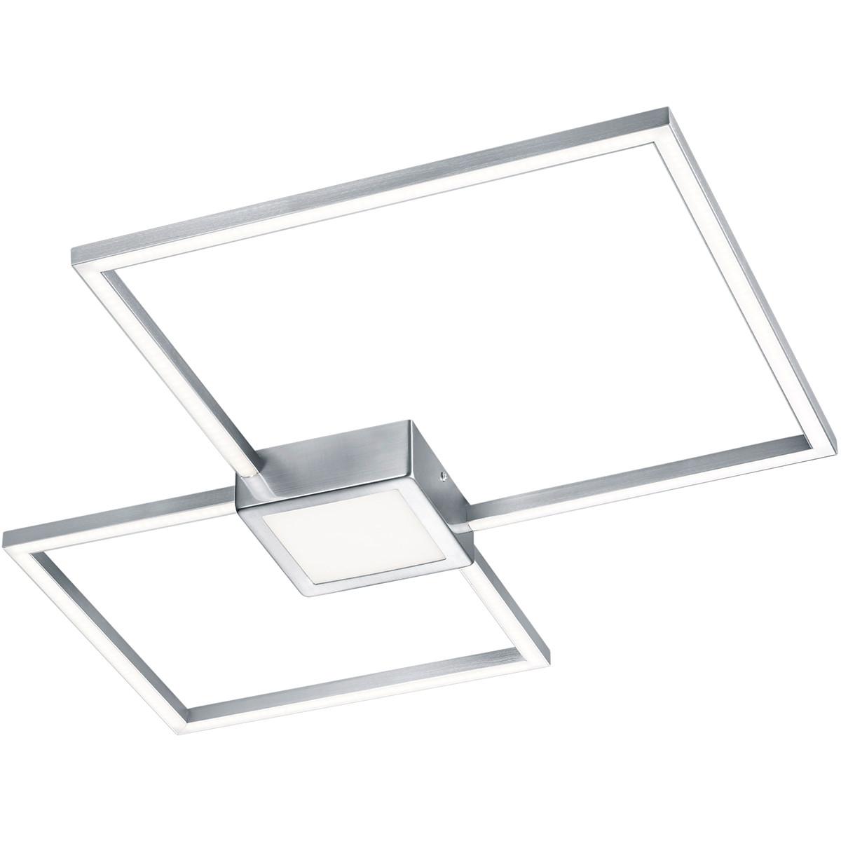 LED Plafondlamp - Trion Hydro - 28W - Warm Wit 3000K - Dimbaar - Rechthoek - Mat Nikkel - Aluminium