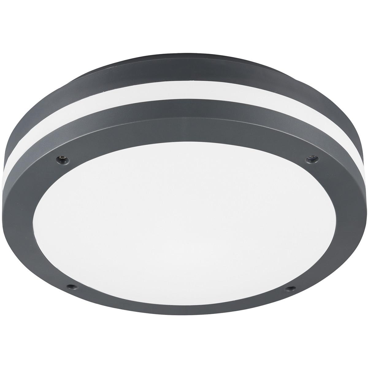 LED Plafondlamp - Trion Keraly - Opbouw Rond - Bewegingssensor - Waterdicht - 12W - Mat Zwart - Kuns