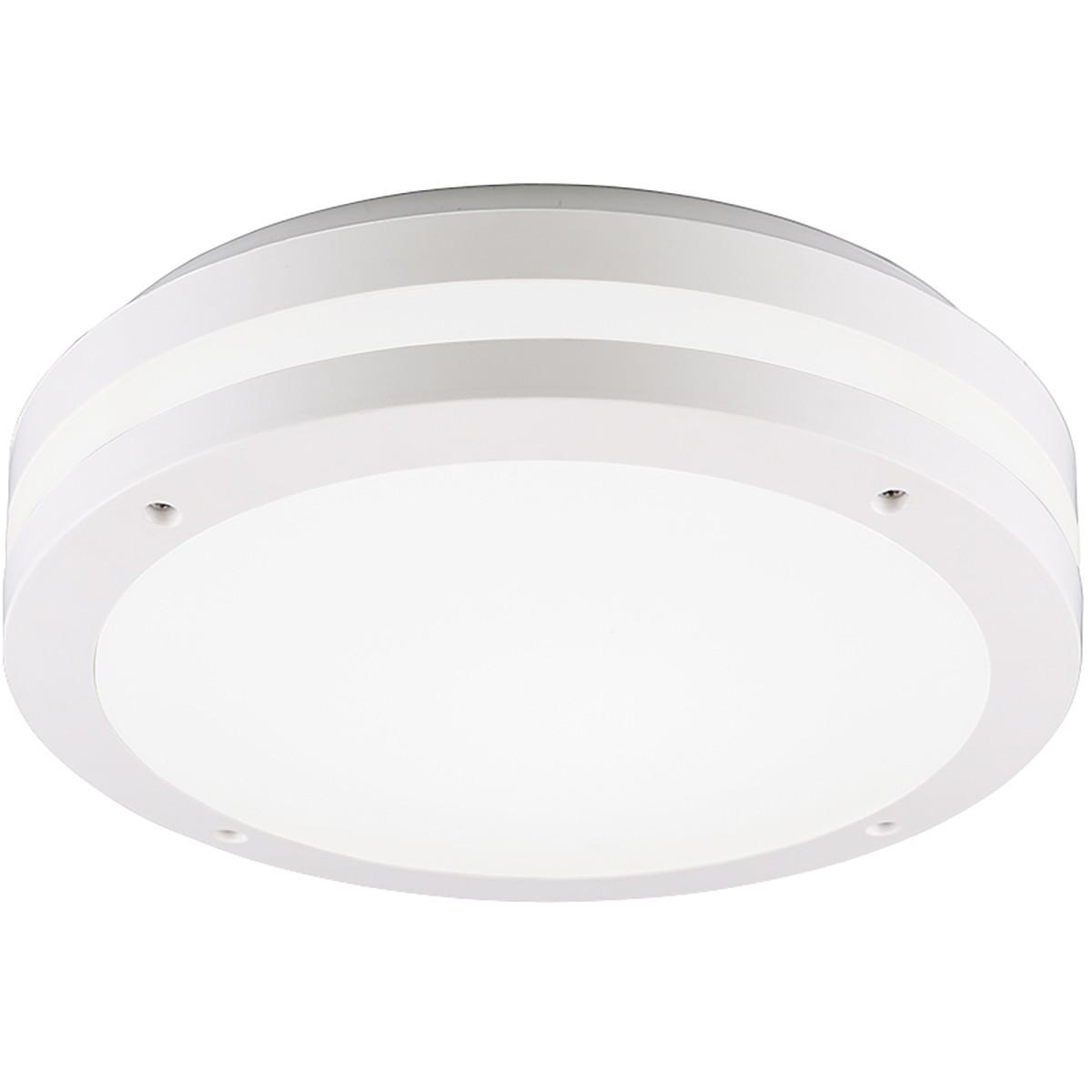 LED Plafondlamp - Trion Keraly - Opbouw Rond - Waterdicht - 12W - Warm Wit 3000K - Mat Wit - Kunstst