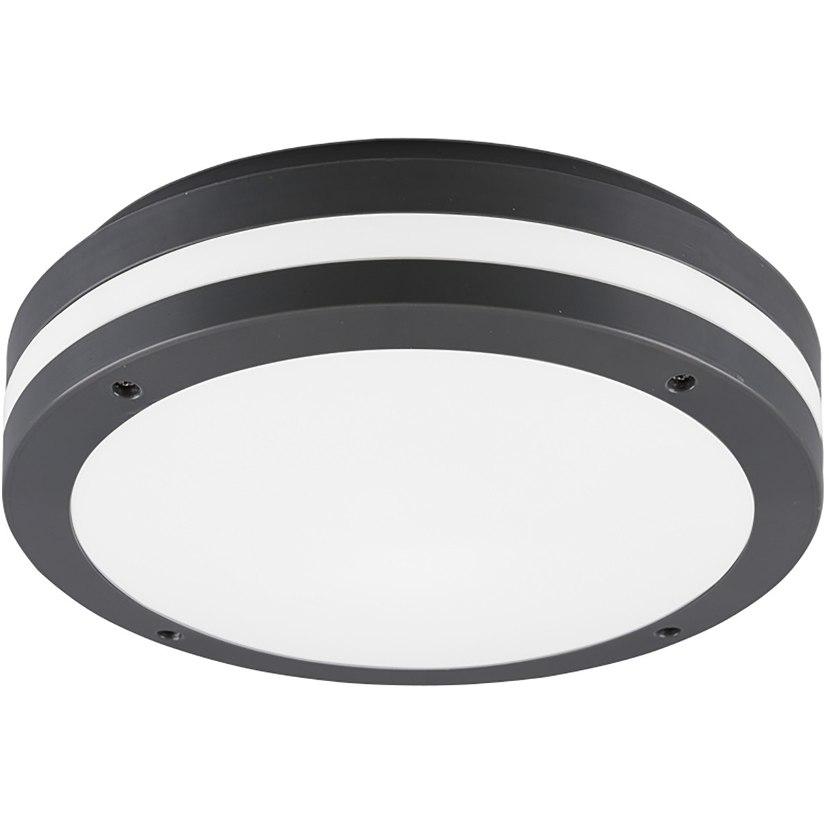 LED Plafondlamp - Trion Keraly - Opbouw Rond - Waterdicht - 12W - Warm Wit 3000K - Mat Zwart - Kunst