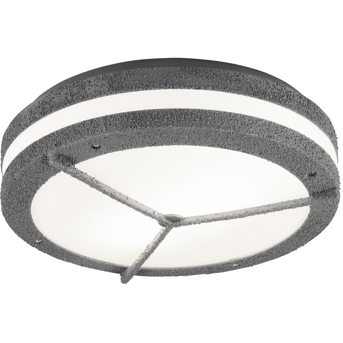 LED Plafondlamp - Trion Murinay - Opbouw Rond - Waterdicht IP54 - E27 Fitting - 2-lichts - Beton Loo