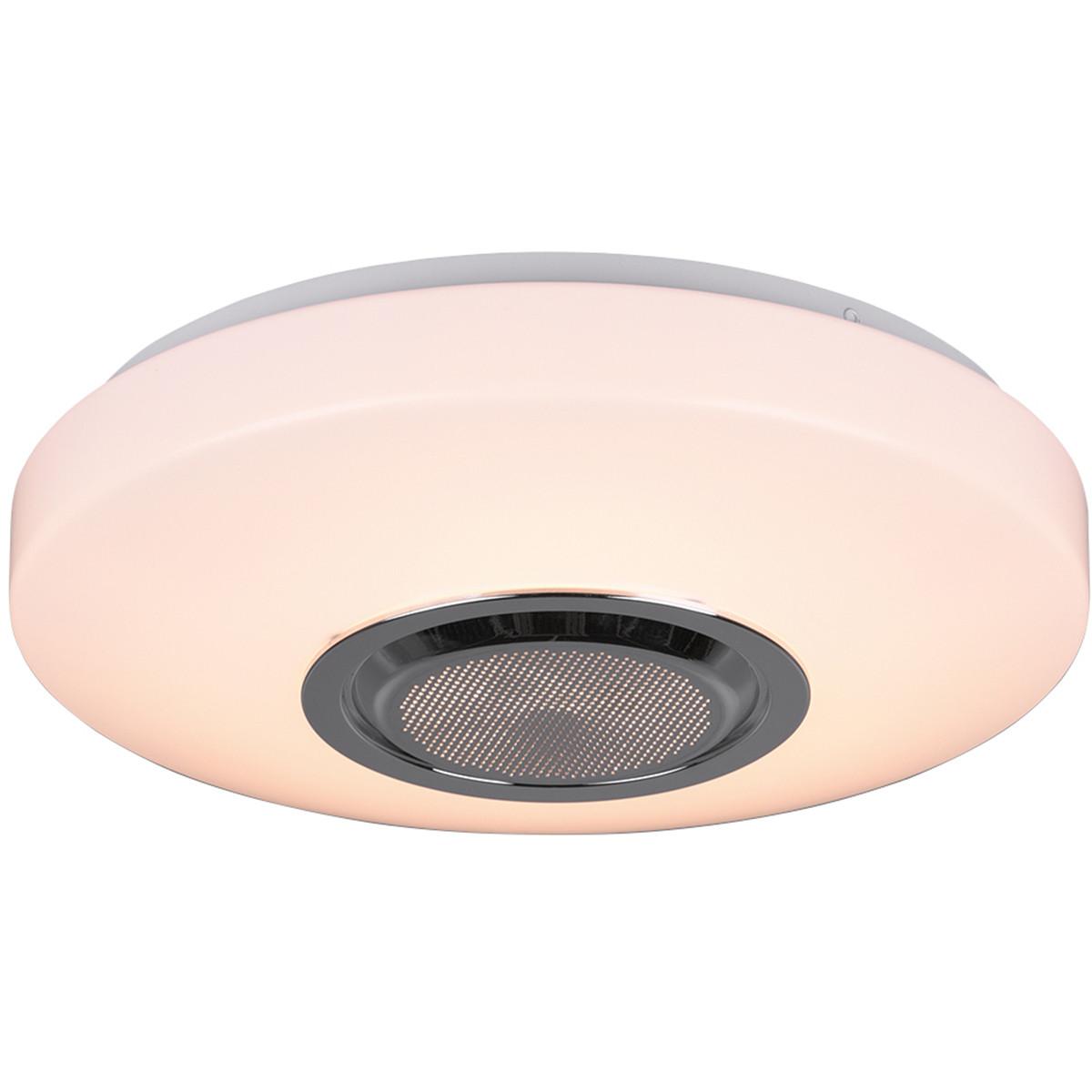 LED Plafondlamp - Trion Niamy - 10W - Bluetooth Luidspreker - RGBW - Dimbaar - Afstandsbediening - R