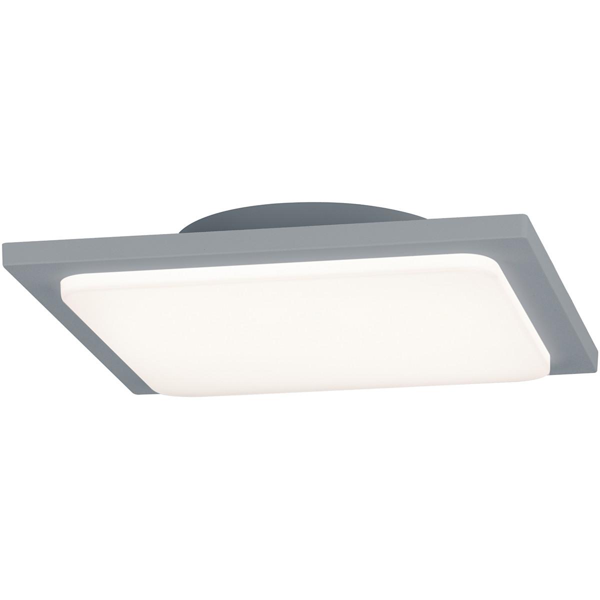 LED Plafondlamp - Trion Tovery - Opbouw Vierkant 18W - Waterdicht IP54 - Warm Wit 3000K - Mat Titaan