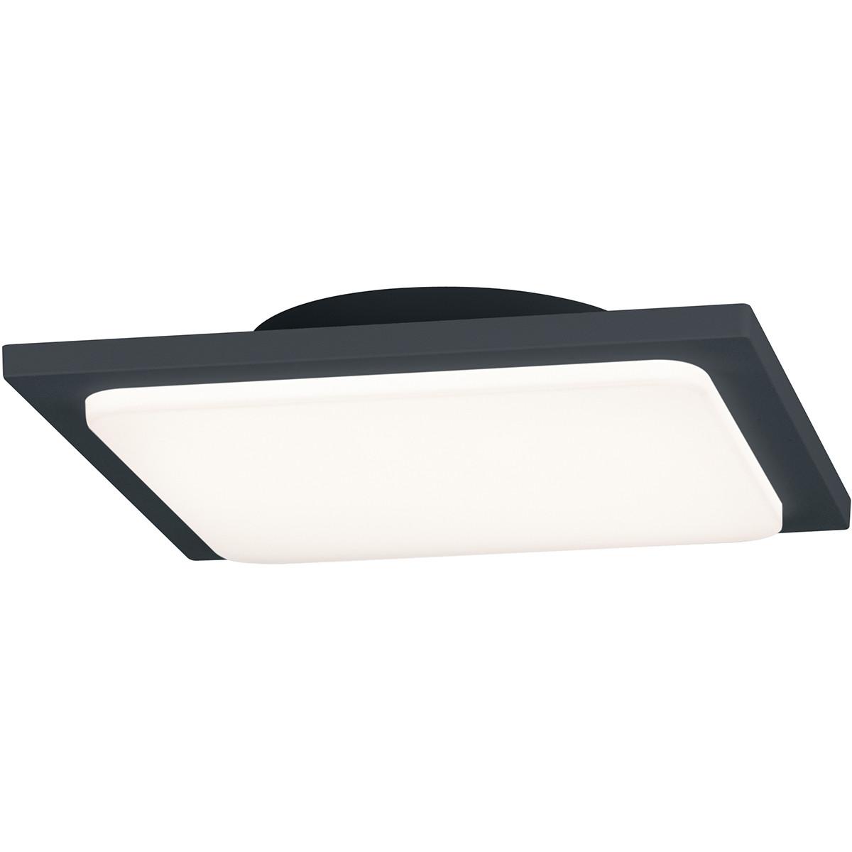 LED Plafondlamp - Trion Tovery - Opbouw Vierkant 18W - Waterdicht IP54 - Warm Wit 3000K - Mat Zwart