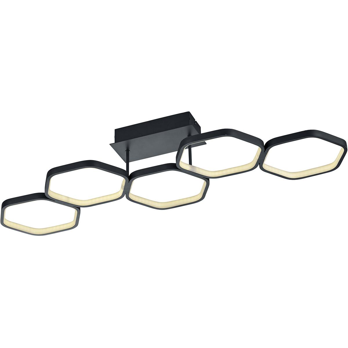 LED Plafondlamp - Trion Vigon - 24W - Warm Wit 3000K - Dimbaar - Rechthoek - Mat Zwart - Aluminium