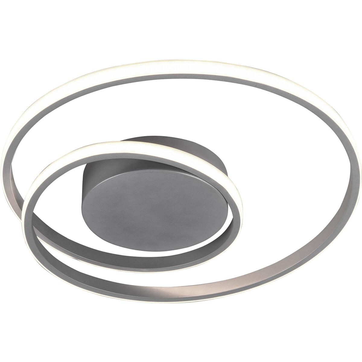 LED Plafondlamp - Trion Zobun - 22W - Warm Wit 3000K - Dimbaar - Rond - Mat Titaan - Aluminium