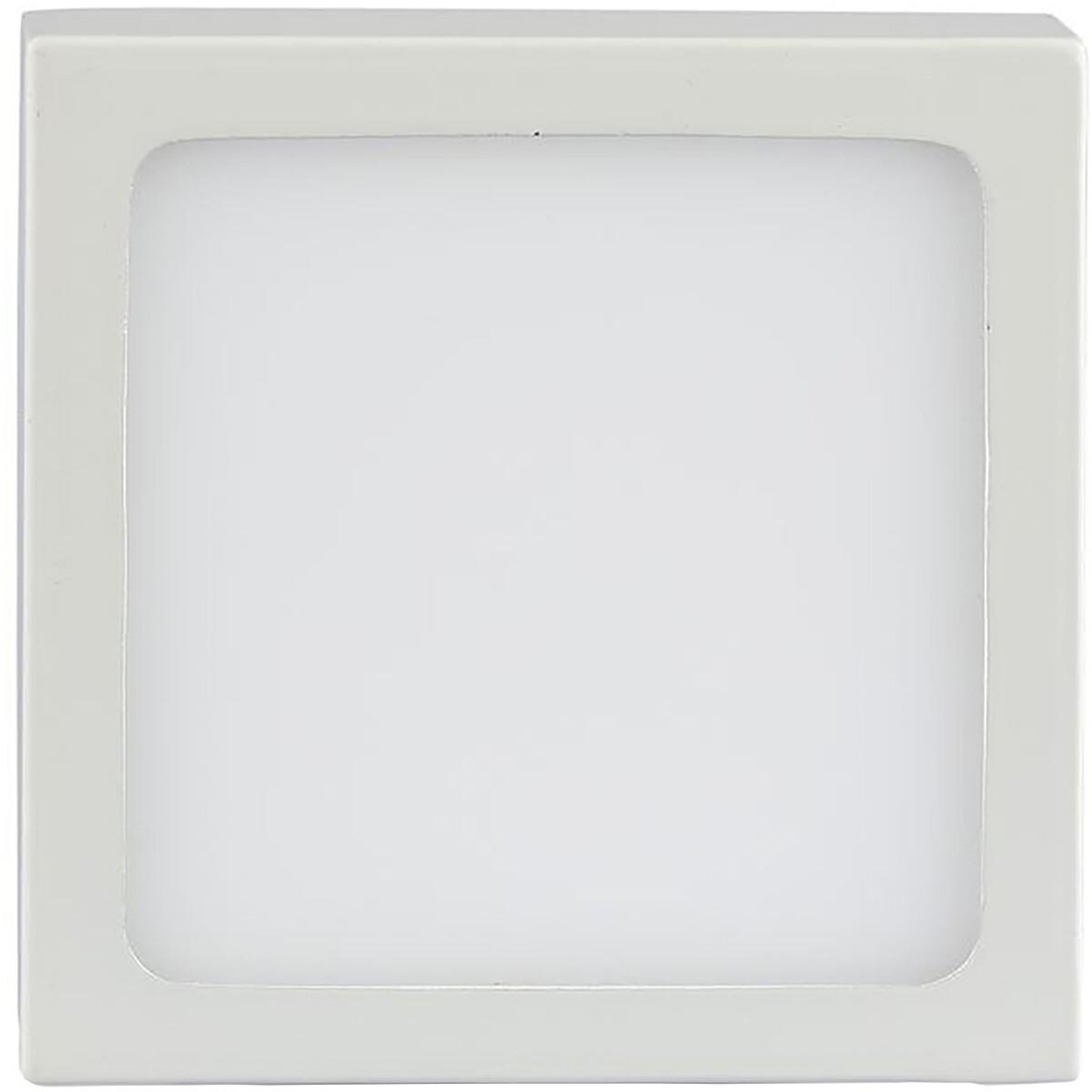 LED Plafondlamp - Viron Unva - Opbouw Vierkant 18W - Warm Wit 3000K - Mat Wit - Aluminium - Ø190mm