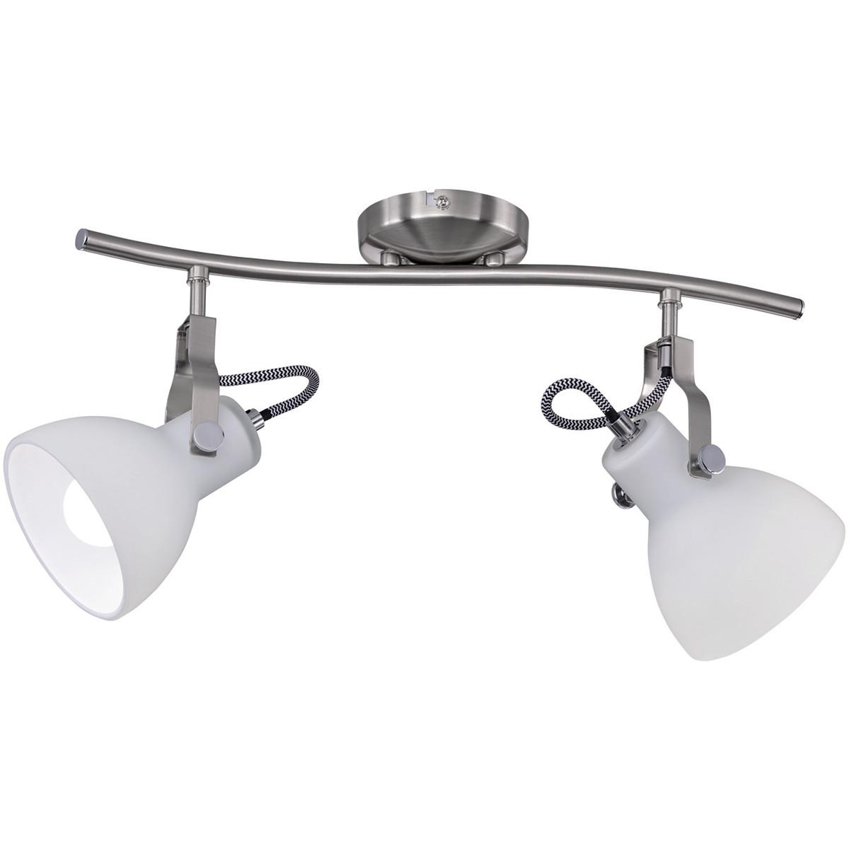 LED Plafondspot - Plafondverlichting - Trion Ginola - E14 Fitting - 2-lichts - Rond - Mat Nikkel - A