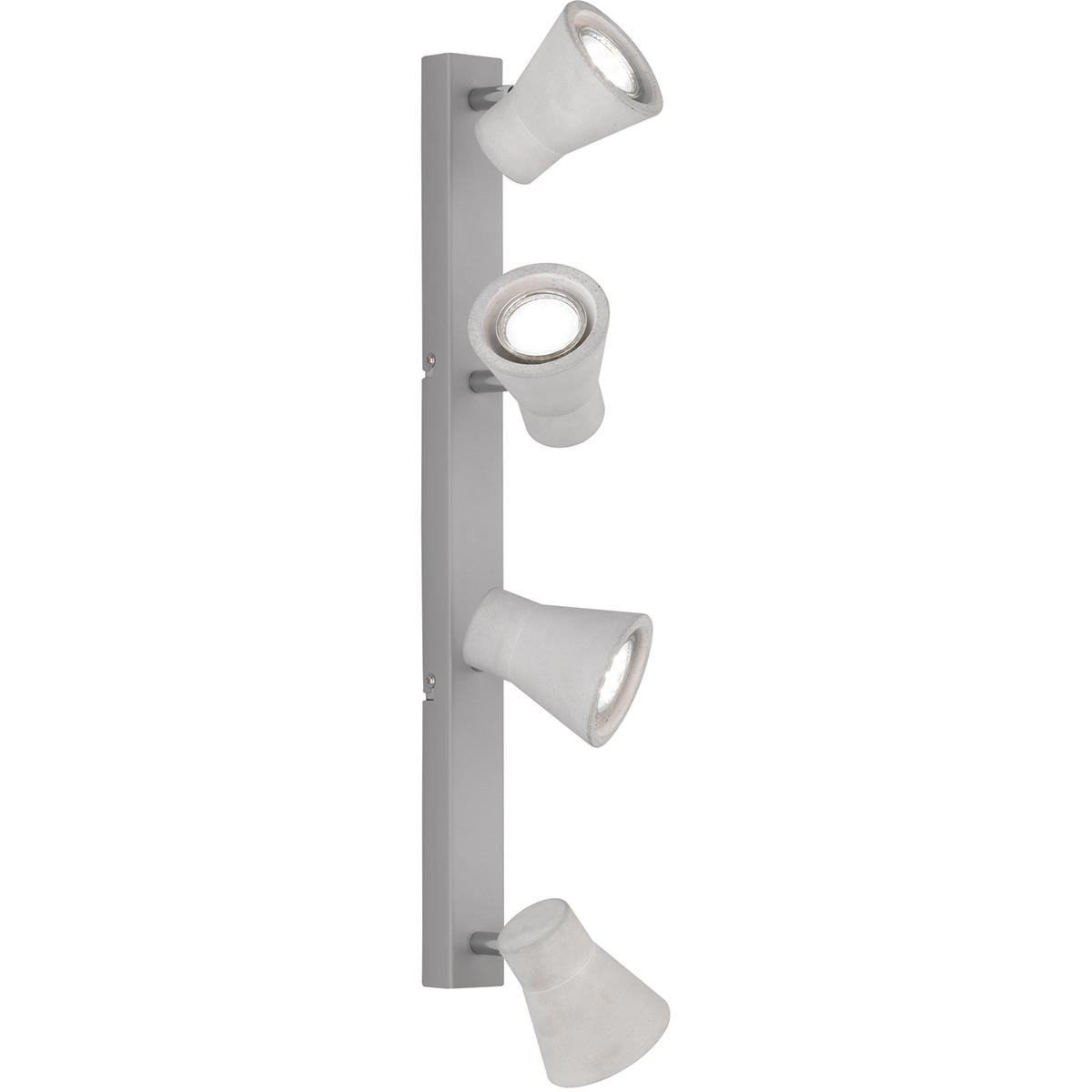 LED Plafondspot - Trion Antyna - GU10 Fitting - 12W - Warm Wit 3000K - 4-lichts - Rond - Beton Look
